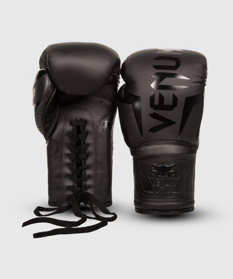 Venum Elite Boxing Gloves - with Laces - Matte/Black