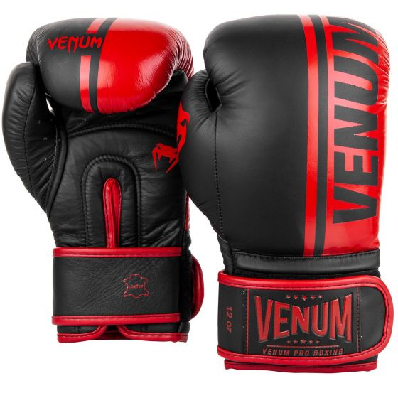 Venum Shield Pro Boxing Gloves Velcro - Black/Red