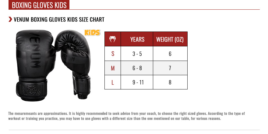 venum kids boxing gloves size chart