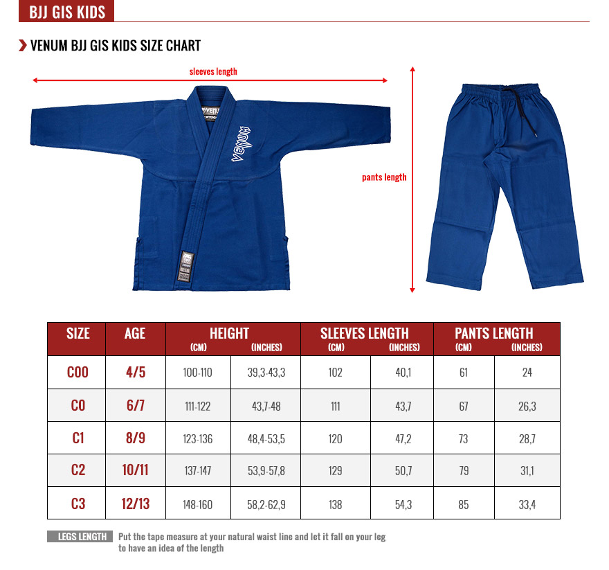 venum kids kimonos size chart