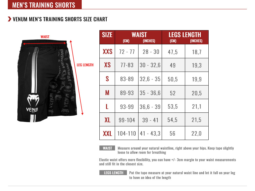 venum men raining shorts size chart