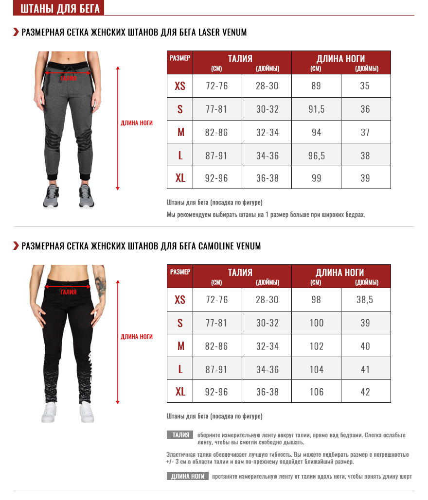 женские штаны для бега Pуководство по размеру