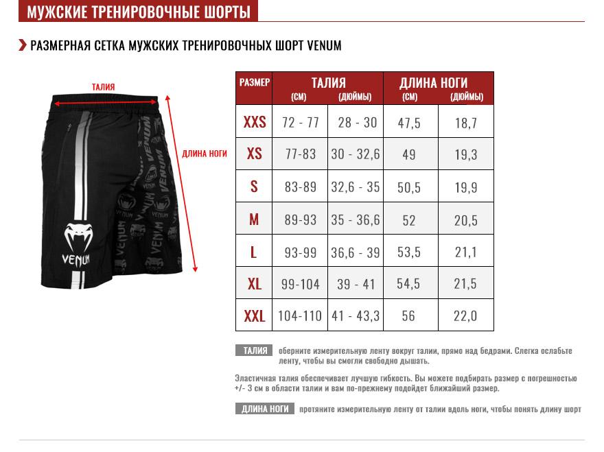 мужские шорты  shorts Pуководство по размеру